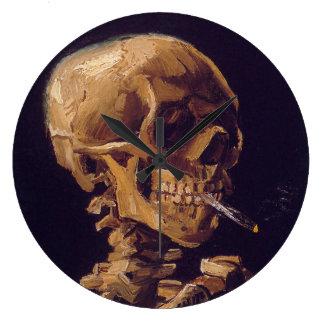 """Van Gogh """"Schädel mit eine brennende Zigaretten-"""" Große Wanduhr"""