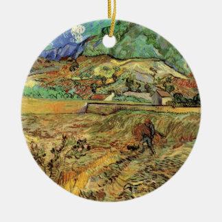 Van Gogh schloss Weizen-Feld und Bauer-schöne Keramik Ornament