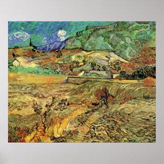 Van Gogh schloss Weizen-Feld und Bauer-schöne Poster