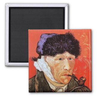 Van Gogh - Selbstporträt mit dem verbundenem Ohr Quadratischer Magnet