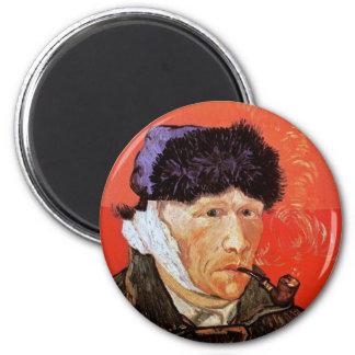 Van Gogh - Selbstporträt mit dem verbundenem Ohr Runder Magnet 5,7 Cm