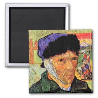 Van Gogh - Selbstporträt mit dem verbundenen Ohr Quadratischer Magnet