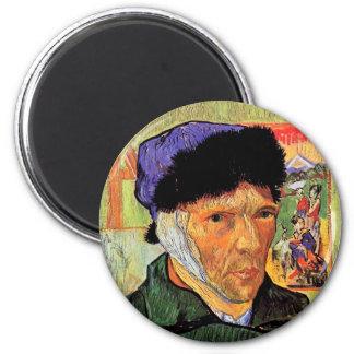 Van Gogh - Selbstporträt mit dem verbundenen Ohr Runder Magnet 5,7 Cm