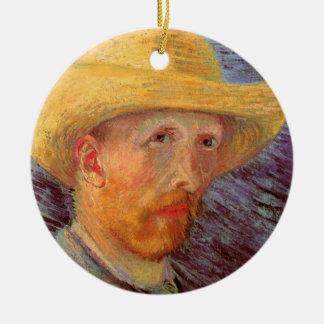 Van Gogh; Selbstporträt mit Strohhut Keramik Ornament