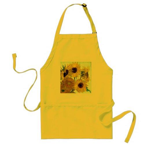 Van Gogh: Sonnenblume-Vintage feine Kunst des Vase Schürzen