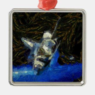 Van Gogh spaceshuttle Quadratisches Silberfarbenes Ornament