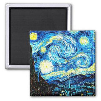 Van Gogh: Sternenklare Nacht Quadratischer Magnet