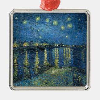 Van Gogh: Sternenklare Nacht über der Rhône Quadratisches Silberfarbenes Ornament