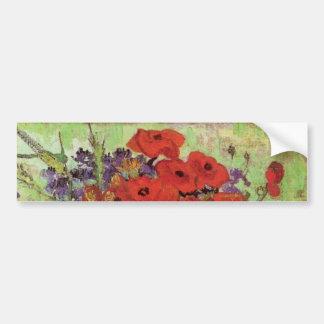 Van Gogh; Stillleben: Rote Mohnblumen und Autoaufkleber