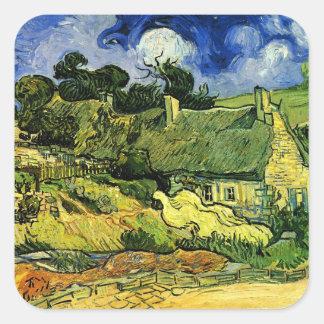 Van Gogh Thatched Hütten bei Cordeville, feine Quadratischer Aufkleber