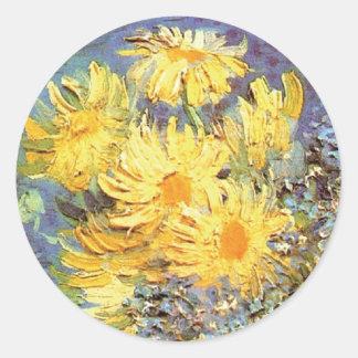 Van Gogh - Vase mit Fliedern, Gänseblümchen und Runder Aufkleber