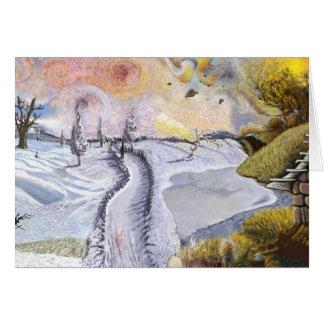 Van Gogh: Winter-Landschaft Grußkarte