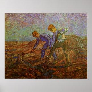 Van Gogh, zwei grabende Bauern, Vintage Bauern Poster