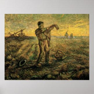 Van- GoghAbend: Ende des Tages, Vintage Kunst Poster