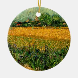 Van- Goghansicht von Arles w Irises, Vintage feine Keramik Ornament