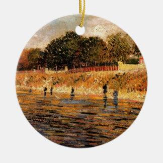 Van- Goghbanken von der Seine, Vintage feine Kunst Keramik Ornament