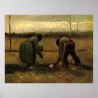 Van- Goghbauer und Bauer-Frau, die Kartoffel Poster