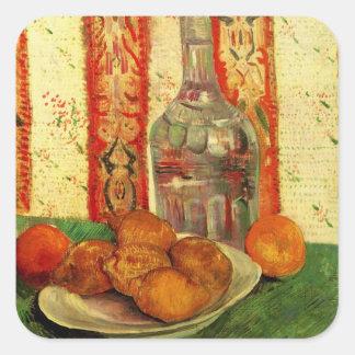 Van- Goghdekantiergefäß-Zitronen-Platte, Vintages Quadratischer Aufkleber