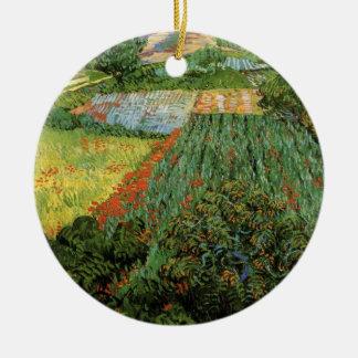 Van- Goghfeld mit Mohnblumen, Vintage feine Kunst Keramik Ornament