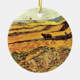 Van- Goghfeld mit Ploughman und Mühle, schöne Keramik Ornament