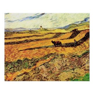 Van- Goghfeld mit Ploughman und Mühle, schöne Poster