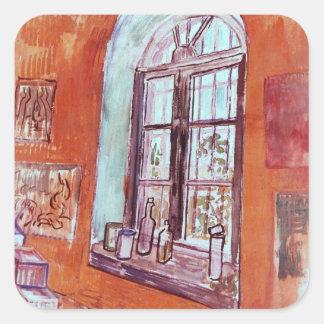 Van- Goghfenster von Vincents Studio am Asyl Quadratischer Aufkleber