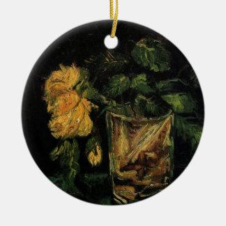 Van- Goghglas mit Rosen-Vintagen feine Keramik Ornament