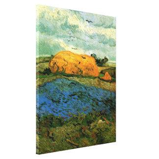 Van- Goghheuschober unter einem regnerischen Leinwanddruck