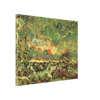 Van- GoghHütten-Zypressen-Erinnerung des Nordens Leinwanddruck