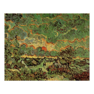 Van- GoghHütten-Zypressen-Erinnerung des Nordens Poster