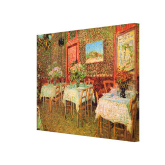 Van- Goghinnenraum des Restaurants, Vintage feine Leinwanddruck