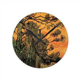 Van- GoghKiefer gegen rote untergehende Sonne des Runde Wanduhr