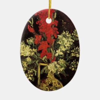 Van- GoghKunst-Vase mit den Gladioli und Keramik Ornament