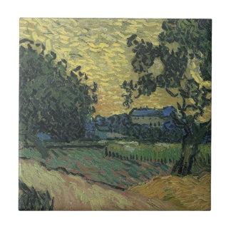 Van- Goghlandschaft an Dämmerung 1890 Fliese