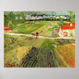 Van- Goghlandschaftswagen und Zug, schöne Kunst Poster