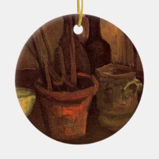 Van- Goghmalerpinsel in einem Topf, Vintages noch Rundes Keramik Ornament