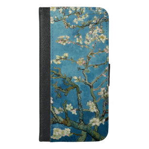 Van- Goghmandel blüht Vintages Blumenblau iPhone 6/6s Plus Geldbeutel Hülle
