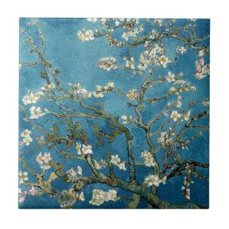 Van- Goghmandel blüht Vintages Blumenblau Kleine Quadratische Fliese