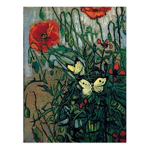 Van Goghmohnblumen-und -schmetterlings-(F748) Postkarte