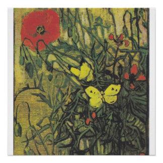 Van- Goghschmetterlings-Blumen inspirational Perfektes Poster