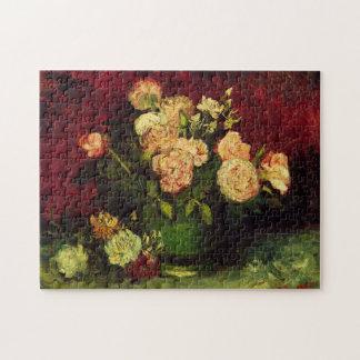 Van- Goghschüssel mit Pfingstrosen und Rosen, Puzzle