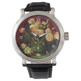 Van- Goghschüssel mit Pfingstrosen und Rosen, Uhr