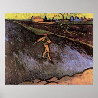 Van Goghsower-Stadtrand von Arles, Vintager Bauer Poster
