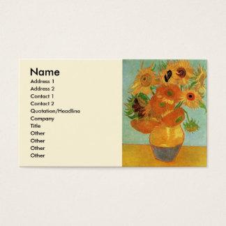 Van- Goghvase mit 12 Sonnenblumen, Blumen-feine Visitenkarte