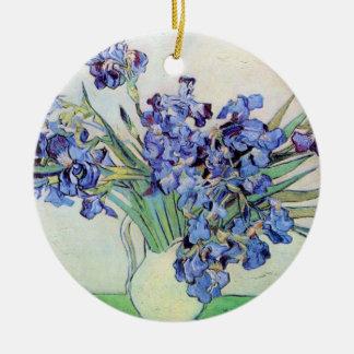 Van- Goghvase mit Iris, Vintage feine mit Keramik Ornament