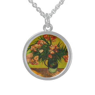 Van- GoghVase mit Oleander-und Buch-Blumenkunst Sterling Silberkette