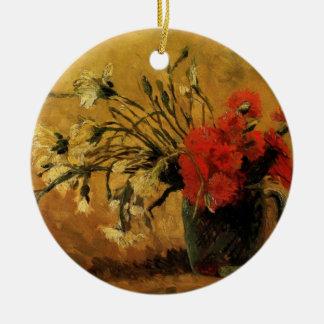 Van- GoghVase mit roten weißen Gartennelken auf Keramik Ornament