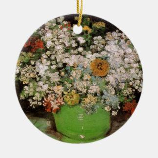Van- Goghvase mit Zinnias und Blumen, feine Kunst Keramik Ornament