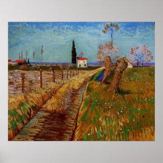 Van- Goghweg durch ein Feld mit Weiden Poster