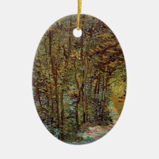 Van- Goghweg im Holz, Vintage feine Kunst Keramik Ornament